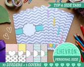 Personal Size Chevron Dividers 5 Top Tabs, 5 Side Tabs and 5 Covers for Filofax Organizer Planner Printable PDF Instant Download