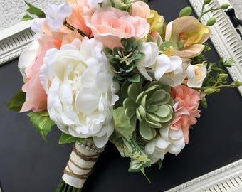 Wedding bouquet, Peach Wedding bouquet, Bridal bouquet, Succulent bouquet, Peach Rustic bouquet, Silk wedding flowers, Peach wedding flowers