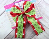 Grinch Hair Bow Headband, Christmas Hair Bow Headband, Holiday Hair Bow Headband, Green Red Hair Bow, 5 Inch Bow
