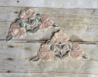 Vintage Sew On Rose Patch - Pale Pink - Set of Two