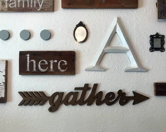 Gather sign wooden cutout gather arrow sign boho decor wedding sign wedding decor rustic decor wall hanging sign cutout word