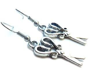 Scissors Silver Earrings