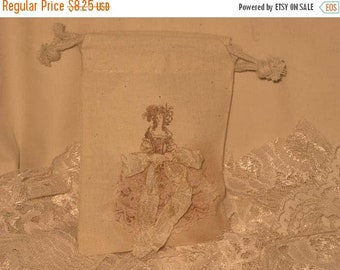 March Sale Marie Antoinette Muslin Wedding Shower Party Favor Gift Pouches Adorned with Lace