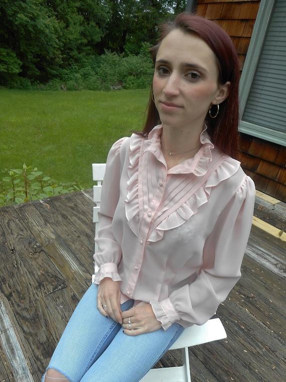 pale pink tuxedo ruffle bib blouse / ruffle cuff blouse / pink silky blouse / s / m