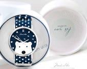 Polar Bear watch, white bear, Ewa Saj, wirst watch, gift for her, art watch, woman watch, hand watch, watch with graphic personalized watch