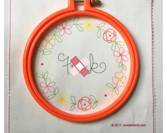 Rude Embroidery Printed Embroidery Pattern Fuck Embroidery Hoop Art