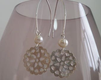 Ivory Fresh Water Pearl and sterling silver earrings Pearl UK made