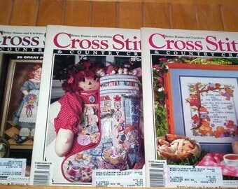 1992 Cross Stitch Patterns SUNFLOWER PILLOW Farm ANIMALS Tropical Fish - 3 Cross stitch & Country Crafts Magazines March, May, July August