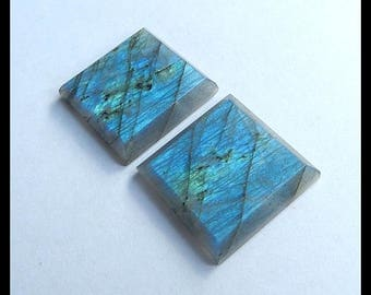 New,Labradorite Faceted Gemstone Cabochon Pair,22x22x4mm,10.4g