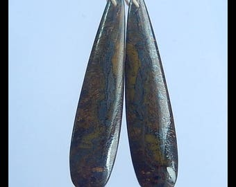 New,Pyrite Gemstone Earring Bead,47x10x4mm,7.6g(E076)