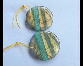Natural  amazonite labradorite Earring pairs Jewelry Gift Gem Customized Gemstone Beads Fashion Earrings 23x5mm 7.9g(E897)