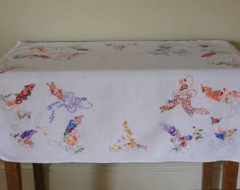 Vintage White Linen Tablecloth Hand Embroidered Crinoline Ladies Garden Flowers