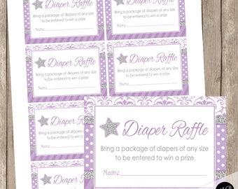 Diaper Raffle Ticket Insert Card - Twinkle Twinkle Little Star baby shower,  purple silver glitter, faux glitter, star raffle INSTANT ls1