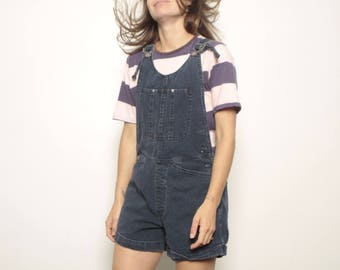 90s BLUE denim jean JUMPER overall OXFORD faded overall shorts