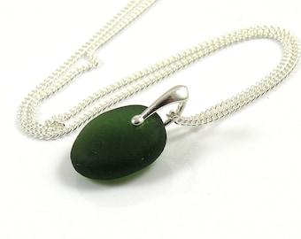 Sea Glass Necklace - Forest Green Sea Glass - Beach Glass - Sea Glass Jewelry - Dainty Necklace - Worldwide Shipping - JASMIN