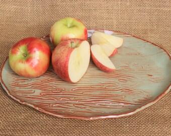 Hand built organic pottery serving platter, ceramic serving dish