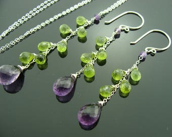 Amethyst and Peridot 925 Sterling Sliver Gemstone Necklace and Earrings Set