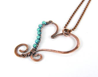 Hammered Copper Teal Heart Pendant Necklace, Antiqued Patina Copper Heart, Wire Wrap Aqua Heart Necklace Item 016
