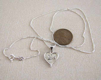 Love heart sterling silver necklace, Valentine's day gift