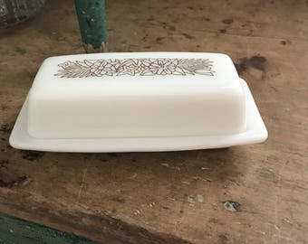 Vintage Pyrex Woodland Brown White Floral Glass Covered Butter Dish