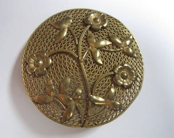 Vintage Czechoslovakia Czech Round Brooch Gold Tone Flowers Filigree