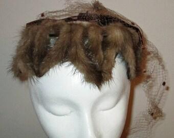 Vintage Ladies Mink Fur Hat with Netting