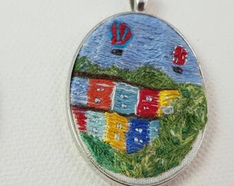 Cliftonwood, Bristol with balloons embroidered pendant