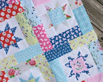Lucky Stars Baby Quilt KIT Strawberry Biscuit Fabrics