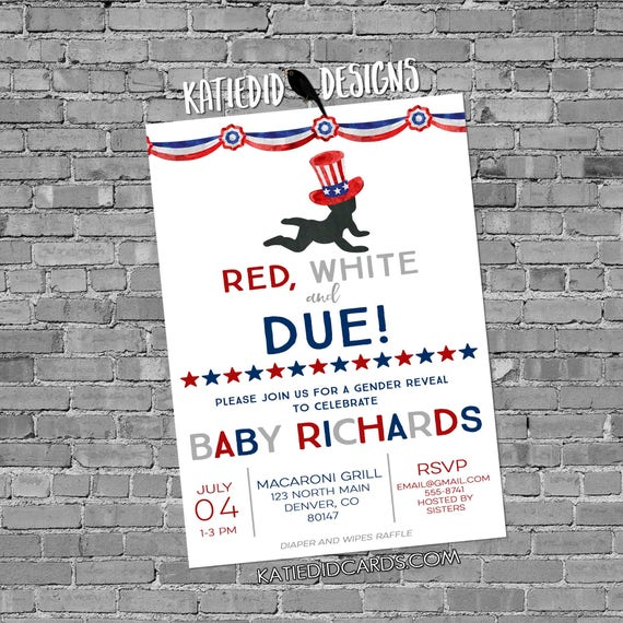 Gender reveal invitation Patriotic uncle sam red white due baby baby shower 4th july birthday bunting banner 1479b red white and baby navy