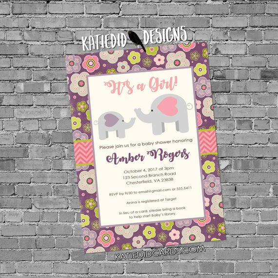 elephant baby shower invitation girl baptism pink purple flowers sprinkle sip and see birthday 13101 couples diaper shabby chic invitation
