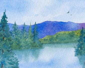 ACEO Original watercolor painting - Miroir d'eau