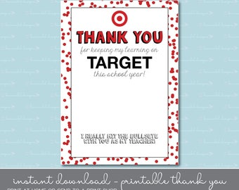 Target Gift Card Thank You - Teacher Gift - Instant Download - Printable