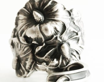 Floral Hollyhock Spoon Ring in Sterling Silver, Flower Gardener Gift for Her, Adjustable Ring Size, Antique Fessenden Silver Spoon (6647)