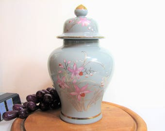 "Chinoiserie Temple Jar, Vintage Japanese Gold Gilt Orchids Porcelain Urn Vase 8 1/2"", Japan Gray Ginger Jar"