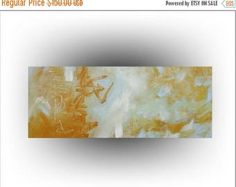 ON SALE ORIGINAL Painting Yellow and Baby Blue Abstract Painting -30 x 12, by Skye Taylor...ready for hanging