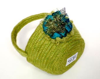 Yarn Easter Basket. Small Handmade Basket, Chartreuse Green Organizer, Fiber Art Decor, Repurposed Upcycled, Petite Fiber Bowl, Sally Manke