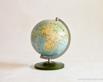 """Vintage Small World Globe 6"""" inches 70s World Map Forest Green Base"""