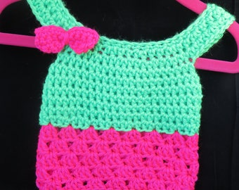 Crochet Newborn Tank Top Hot Pink and Lime Green