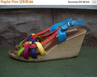 Birthday Sale Adorable Woven Pleather Sbicca Wedges Size 6/ 6.5
