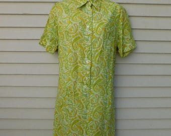 Birthday Sale Vintage Green Paisley Shirtwaist Dress By Countrywise, House Dress