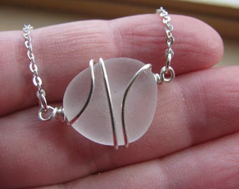 Small white Sea Glass Necklace Beach Wedding Jewelry Bridesmaid Gifts Real Beach Glass Natural seaglass