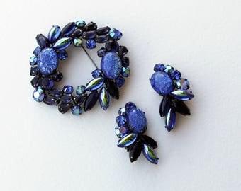 Huge Beautiful Vintage Blue Rhinestone Brooch and Earrings Demi Parure