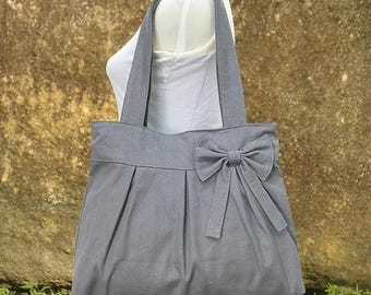On Sale 20% off Gray canvas tote bag, fabric shoulder bag for women
