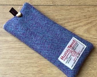Blue herringbone Harris Tweed glasses case, tweed specs case, scottish gift, Mothers Day