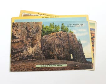 4 Vintage Acadia National Park and Mt Desert Island Maine Postcards Used