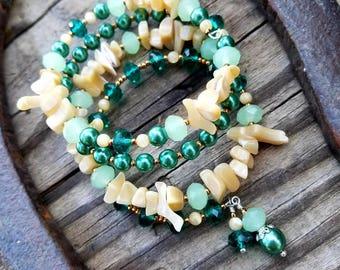 Mother of Pearl Wrap Bracelet