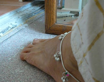 silver ankle chain gopi ankle bells vedic jewellery, bare foot decor indian tribal ornaments syamarts belly dance bollywood gypsy
