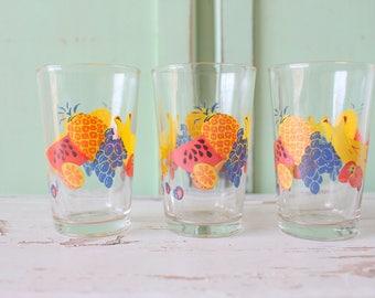 1980s FRUIT Juice Glasses...set of 3...retro kitchen. groovy glassware. funky. drink. serve. oranges. lemon. breakfast. kitsch. kawaii. mod