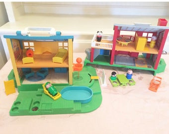 80s Fisher Price Neighborhood Huge Set Opens Into Two House! Great For  Siblings, BasketBall