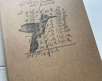 Kraft Moleskin Lined Notebook with Hummingbird - Journal, Notebook, To Do List